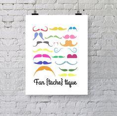 """Carte """"Fan{tache]tique"""" // Moustache // Illustration / carte / Typographie"""