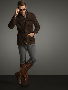 Looking quite dapper in riding boots and a suede jacket. Massimo Dutti