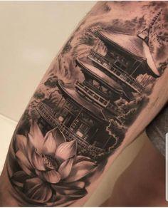 Cool Forearm Tattoos, Dope Tattoos, Leg Tattoos, Body Art Tattoos, Tattoos For Guys, Badass Tattoos, Chicano Tattoos, Japanese Temple Tattoo, Japanese Tattoo Art