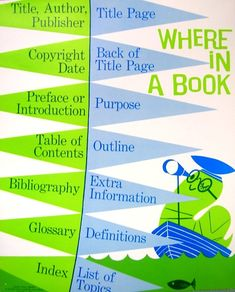 classroom poster -- parts of a research book