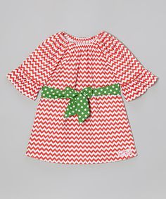 Take a look at this Red Zigzag Bell-Sleeve Dress - Infant, Toddler & Girls by RuffleGirl on #zulily today!