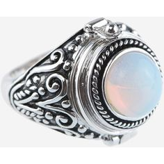 Rock N Rose Alma Moonstone Poison Ring (€37) ❤ liked on Polyvore featuring jewelry, rings, moonstone ring, lock ring, lock jewelry, moonstone jewelry and cocktail rings
