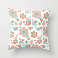Coral and Mint Green Floral Throw Pillow #decampstudios
