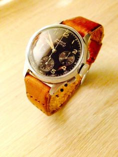 Benrus Sky Chief with Custom Handcrafted Vintage Leather Watch Strap