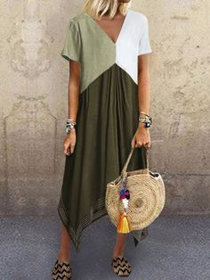 Casual Splicing V Neck Blend Short Sleeve Dress – linenwe maxi outfit long maxi dresses prom maxi dress wedding maxi dress V Neck Midi Dress, Maxi Dress With Sleeves, Short Sleeve Dresses, Short Sleeves, Tee Dress, Sheath Dress, Holiday Dresses, Summer Dresses, Patchwork Dress