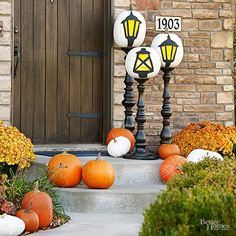 If your decor tends toward the less-scary side, try this clever craft to repurpose ordinary pumpkins. Make the Halloween craft: Purchase real or crafts white pumpkins; trace a design imitating lights on the pumpkins. Using yellow and black crafts paint, fill in the designs. Stack the pumpkins on flea market or new balustrades painted glossy black. /