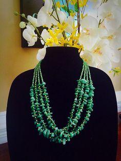 Multistrand Green Bead Necklace, Natural Green Adventurine Stone Necklace, Vintage Handmade Summer Necklace by FelixVintageMarket