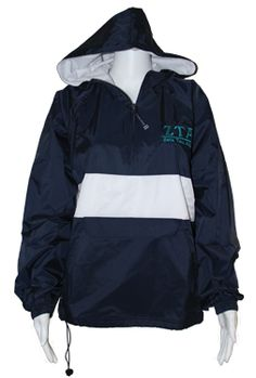 Don't get caught in the rain with your your ZTA Navy and White Stripe Pullover Jacket