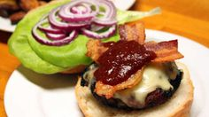 Rachael Ray's Tex-Mex Bacon Cheeseburgers with Chipotle Ketchup.