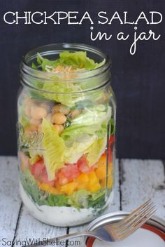Chickpea Salad in a Mason Jar