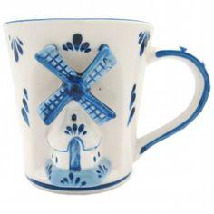 Delft Ceramic Cup: Embossed Dutch Windmill