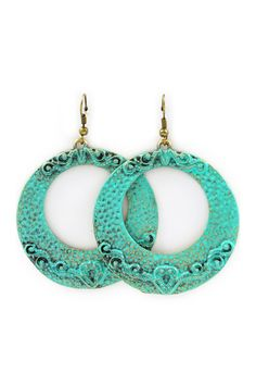 Patina Filigree Statement Earrings on Emma Stine Limited