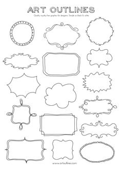 Set of Journal Tags & Label Frames- Art Outlines Full Page 16 Original Hand Drawn Outline Illustrations and Custom Shapes