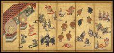 Bugaku Dancers. Kano Yasunobu (Japanese, 1613–1685). Japanese folding screen. The Met Museum.