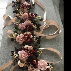 Items similar to Flower Wrist corsage, Blush pink Flower bridesmaid corsage, Pink wrist corsage on Etsy Burgundy Flowers, Blush Flowers, Bridal Flowers, Flower Bouquet Wedding, Flowers In Hair, Bridal Bouquets, Blue Boutonniere, Rustic Boutonniere, Groomsmen Boutonniere