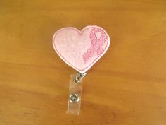 Heart Breast Cancer Ribbon Retractable Reel ID Badge Lanyard Clip Nursing Scrubs Pink by TurtleOnTheGo on Etsy