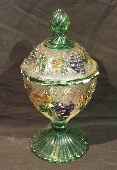 ThriftCHI ~ Painted Glass Lidded Candy Dish w Grape Design I LOVE THIS!!! <3