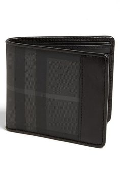 For Joel. Burberry Check Print Bifold Wallet available at Gents Wallet, Designer Suitcases, Men's Backpacks, Money Clip Wallet, Designer Wallets, Small Wallet, Luxury Handbags, Wallets For Women, Leather Wallet