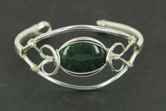 Dark Jade Sterling Wire Wrapped Cuff