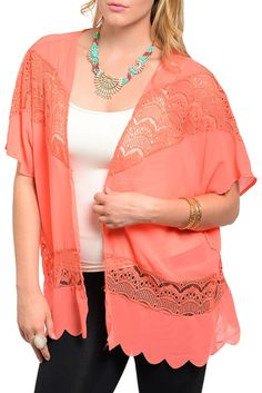 DHStyles Women's [HOT SELLER] Peach Plus Size Trendy Sheer Chiffon Paisley Lace Cardigan Top #sexytops #clubclothes #sexydresses #fashionablesexydress #sexyshirts #sexyclothes #cocktaildresses #clubwear #cheapsexydresses #clubdresses #cheaptops #partytops #partydress #haltertops #cocktaildresses #partydresses #minidress #nightclubclothes #hotfashion #juniorsclothing #cocktaildress #glamclothing #sexytop #womensclothes #clubbingclothes #juniorsclothes #juniorclothes #trendyclothing…