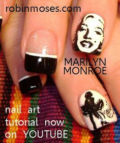 hand painted marilyn monroe nail art www.youtube.com/watch?v=UCvrISKsfHg