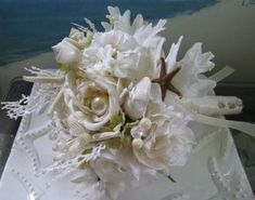 Seashell Beach Wedding Bridal BouquetCoral by CeShoreTreasures, $55.00 I would remove coral!! #beach #summer