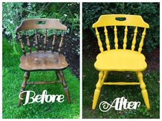 Old chair painted yellow...great for photo shoots! MiaMoo Designs