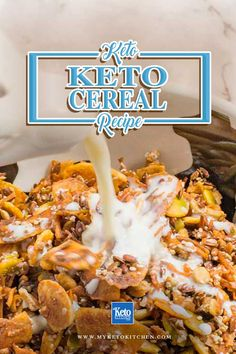 Keto Cereal Recipe - You Can Have Your Favorite Breakfast Too! It's Sugar-Free Low Carb and Gluten Free Keto Cereal Recipe - You Can Have Your Favorite Breakfast Too! It's Sugar-Free Low Carb and Gluten Free Cereal Keto, Sugar Free Cereal, Low Carb Cereal, Gluten Free Cereal, Ketogenic Recipes, Low Carb Recipes, Free Recipes, Simple Recipes, Cinnamon Crunch