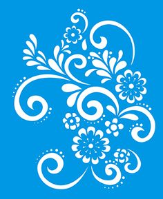 x Reusable Flexible Plastic Stencil for Graphical Design Airbrush Decorating Wall Furniture Fabric Decorations Drawing Drafting Template - Flowers Leaves Bunch Stencil Patterns, Stencil Designs, Embroidery Patterns, Machine Embroidery, Stencils, Stencil Art, Paper Art, Paper Crafts, Fabric Painting
