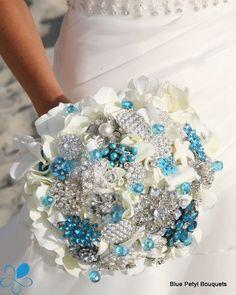 Turquoise Hydrangea Brooch Bouquet: Cream hydrangeas with turquoise accents… Hydrangea Bouquet Wedding, Wedding Flowers, Prom Flowers, Bouquet Flowers, Hydrangea Flower, Wedding Dresses, Dream Wedding, Wedding Day, Spring Wedding