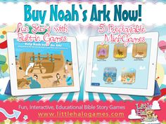 Get your Noah's Ark game today, for only $.99, for your iPhones, iPads, and iPod Touches! Hurry, this promotion is for limited time only! Our games are also available for Nook and Kindle tablets, and Android smartphones. #bible #games #kidmin