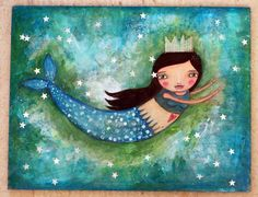 Whimsy Mermaid  Fine Art Print by willowing on Etsy, £12.00