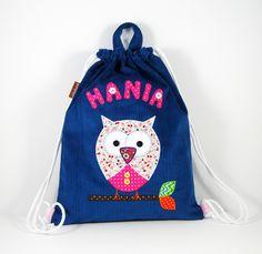 Niebieski imienny worek z sową - Limpopo-bags - Plecaki dla dzieci