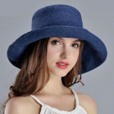 Beach crimping straw hat for women summer foldable UV protection sun hats