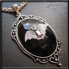 Gothic Silver Bat Necklace -  Vampire Cameo Jewelry. $18.00, via Etsy.