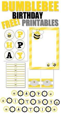 Birthday Party with FREE Printables Bumblebee Themed Birthday Party with FREE Printables!Bumblebee Themed Birthday Party with FREE Printables! First Birthday Parties, Birthday Party Themes, Free Birthday, Bee Invitations, Bumble Bee Birthday, Party Printables, Free Printables, Printable Labels, Do It Yourself Baby