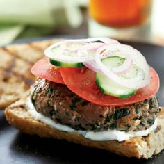 Greek Bison Burgers Feta cheese helps the flavours in this burger pop, with a yoghurt dressing that makes it easy to skip slathering high-fat spreads on it.