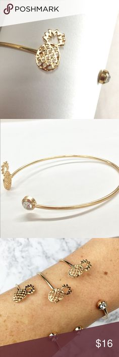 Sweet! 14k gold plated cuff Dainty and sweet! Pineapple meets Austrian crystal in this open cuff.  14k gold plated metal alloy. Wila Jewelry Bracelets
