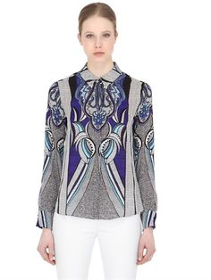LARUSMIANI FLORAL PRINTED SILK SHIRT WITH BEES, BLUE. #larusmiani #cloth #shirts