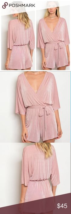 Boho Mauve Romper 🌸 Various Sizes! -Half sleeves  -Elastic waist band  -Sash to tie around -Super soft suede like material  -Flows into relaxed bottoms -96% polyester 4% spandex  In my picture, I'm wearing a size Medium and I'm 5'5  S: 36in B, 22in W, 30in L  M: 38in B, 23in W, 31in L L:  42in B,  24 in W, 32in L  Please keep in mind the waist band is elastic so it allows much stretch! Other