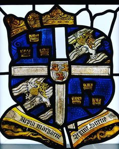 Stained glaas with the coat of arms of Queen Margaret Leijonhufvud, wife of King Gustav I of Sweden, Västerås Cathedral. Coat Of Arms, Sweden, Stained Glass, Cathedral, Medieval, Instagram Posts, Instagram Queen, History, Antiques
