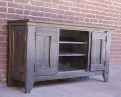 Tv+Stand+/+Media+Console+/+Media+Cabinet+/+Rustic+By+Furniturefarm tv conso Rustic Media Console, Console Tv, Pallet House, Pallet Tv, Pallet Benches, Pallet Tables, Outdoor Pallet, 1001 Pallets, Pallet Sofa