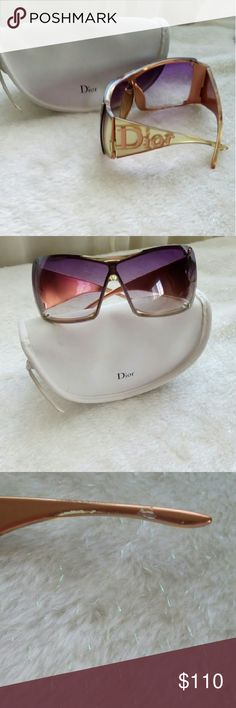 Christian dior oversized sunglasses I had them since 2006, 100%authentic had bought it from macys. Has minor scratches from wear which you cant see on the lenses. Inside right arm is a little scratched still cant see when wearing it. Comes with case. Christian Dior Accessories Glasses