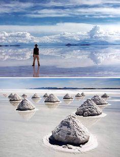 Salar de Uyuni, Bolivia. A massive salt desert in the middle of the Altiplano