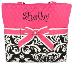 $16.00 Quilted Damask Diaper Bag with Hot Pink Trim  (Shown with Optional Personalization)
