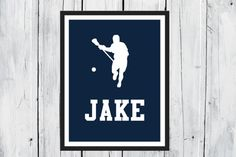 Personalized sports print! Lacrosse Sports Silhouette Lacrosse Player by @TheEducatedOwl #etsy #art #print