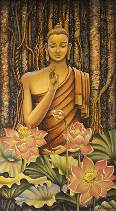 """""""When inward tenderness finds the secret hurt, Pain itself will crack the rock And ah! let the soul emerge. Painting of Buddha by Vrindavan Das. Lotus Buddha, Art Buddha, Buddha Artwork, Buddha Kunst, Buddha Painting, Buddha Buddhism, Buddhist Art, Buddha Peace, Krishna Painting"""