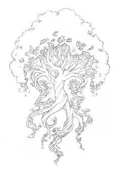 Yggdrasil a árvore da vida. Yggdrasil the tree of life. Tattoo Life, I Tattoo, Tree Of Life Tattoos, Celtic Tree Tattoos, Wisdom Tattoo, Wiccan Tattoos, Colouring Pages, Adult Coloring Pages, Coloring Books