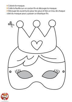 Si tu veux te déguiser en reine, ce masque de Carnaval est fait pour toi. Imprime-le vite sur TFou.fr, colorie-le de jolie couleurs et tu seras la plus belle ! Activities For Kids, Crafts For Kids, Arts And Crafts, Party Entertainment, Creative Kids, Card Templates, Mardi Gras, Coloring Books, Fairy Tales