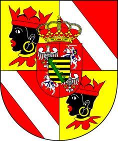 English: Coat of arms (shield only) of Clemens Wenzeslaus August Hubertus Franz Xaver von Sachsen, bishop of Regensburg, Germany (1763 - 1768), bishop of Freising, Germany (1763 - 1768), archbishop of Trier, Germany (1768 - 1801), bishop of Augsburg, Germany (1768 - 1812). Arms used in Freising.